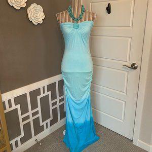 Sky Aqua Wange Maxi Dress with Turquoise Necklace